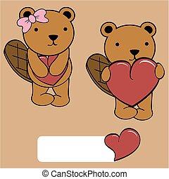 cute beaver girl and boy cartoon