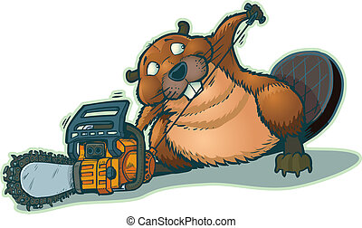 "A cute beaver starting a chainsaw. He looks a little guilty to be ""cheating"" in this way. This cartoon is vector clip art."