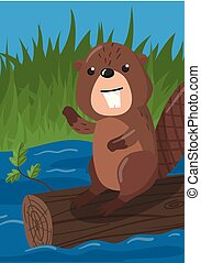 Cute beaver vector illustration with woodland animal, design element for banner, flyer, placard, greeting card, cartoon style