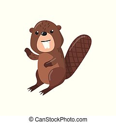 Cute beaver woodland cartoon animal vector Illustration