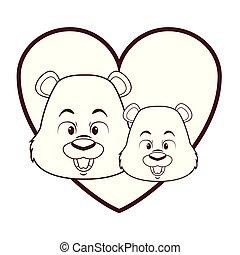 Cute beavers cartoon