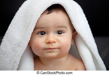cute, bebê, coberto, com, branca, cobertor