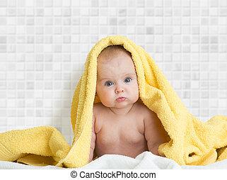 cute, bebê, em, banho