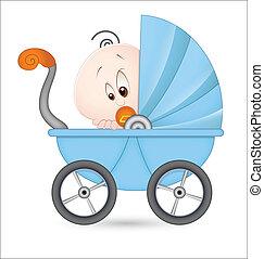 cute, bebê, em, carrinho criança