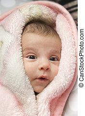 cute, bebê, em, toalha