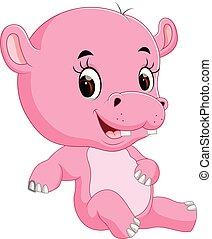 cute, bebê, hipopótamo