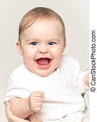 cute, bebê sorridente, menina