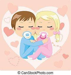 cute, bebês, abraçando