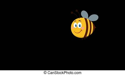 Cute Bee Cartoon Character Flying. 4K Animation Video Motion Graphics Without Background