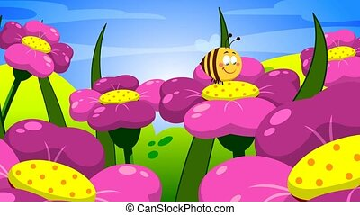 Cute Bee Cartoon Character Flying On Flowers. 4K Animation Video Motion Graphics Without Background