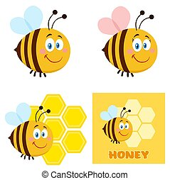 Cute Bee Cartoon Character Set 1. Flat Vector Collection
