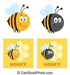Cute Bee Cartoon Character Set 2. Flat Vector Collection