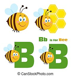 Cute Bee Cartoon Character Set 3. Flat Vector Collection