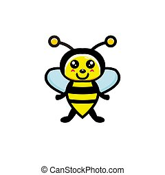 Cute bee cartoon character vector design