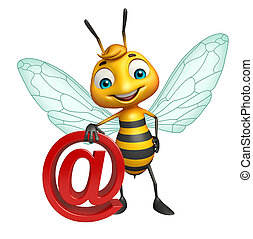 cute Bee cartoon character with at the rate sign