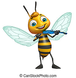 cute Bee cartoon character with guitar