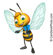 cute Bee cartoon character with guitar