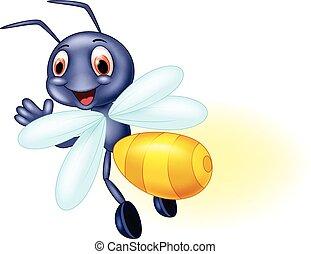 Cute bee cartoon waving