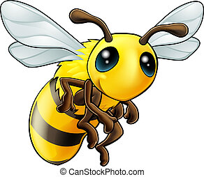 An illustration of a cartoon cute Bee character