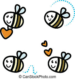Cute bee characters with hearts isolated on white