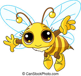 Cute Bee flying - Illustration of a Friendly Cute Bee Flying