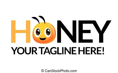 Cute bee head with company brand name - vector mascot isolated
