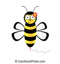 cute bee in black and yellow color illustration