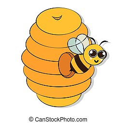 Cute bee on a honeycomb