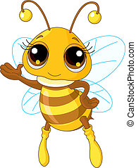 Cute Bee Showing - Illustration of a Friendly Cute Bee...