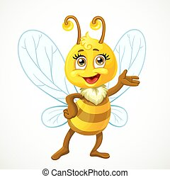 Cute bee stand on a white background