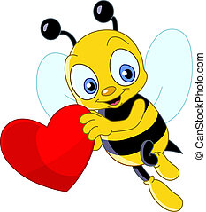 Cute bee valentine - Cute bee holding a heart