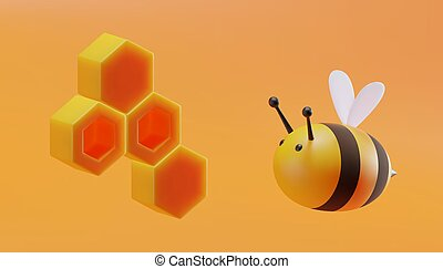 Cute bee with honeycomb in cartoon style. 3D illustration. Vector