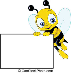 Cute bee with sign - Cute bee holding a blank sign