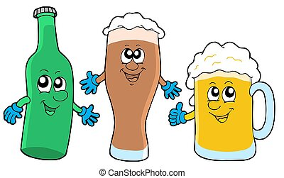 Cute beer collection - isolated illustration.