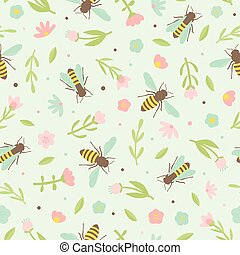 Cute bees and flowers.