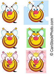 Cute Bees Character. Collection