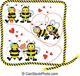 Cute bees in love of a digital coll