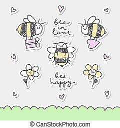 cute bees set