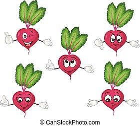 cute beet character set. cartoon vector illustration