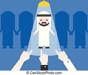 cute, begreb, firma, pege, kandidat, hånd, araber, rekrutering, forretningsmand, situation