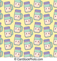 cute beverage jar kawaii characters pattern