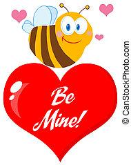 cute, bi, rødt hjerte