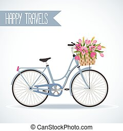 Cute bicycle with basket full of flowers
