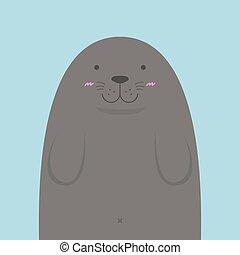 cute big fat monk seal