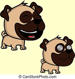 big head baby pug dog expressions collection set