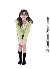 Cute biracial asian girl in green sweater and glasses bending forward, hand on knees