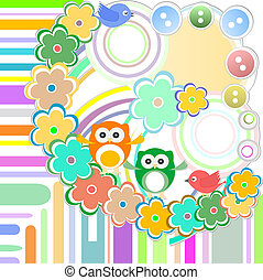 Cute bird and owl in abstract garden