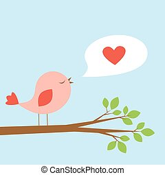 Cute bird and speech bubble with heart