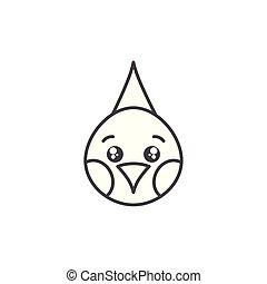 cute bird animal farm line style icon