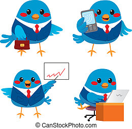 Cute Bird Business - Cute little blue bird businessman doing...